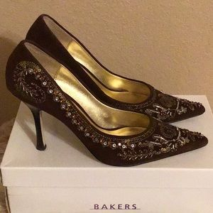1467b3dd8ca Bakers Shoes - Bakers Cecilia Brown Suede Embellished Pumps